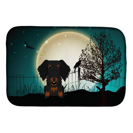 Halloween Scary Wire Haired Dachshund Black Tan Dish Drying Mat](Scary Halloween Main Dishes)