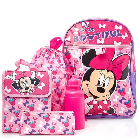 Back To School Stores (Disney Minnie Mouse 5-Piece Back To School Backpack Set, Pink, 17x12)