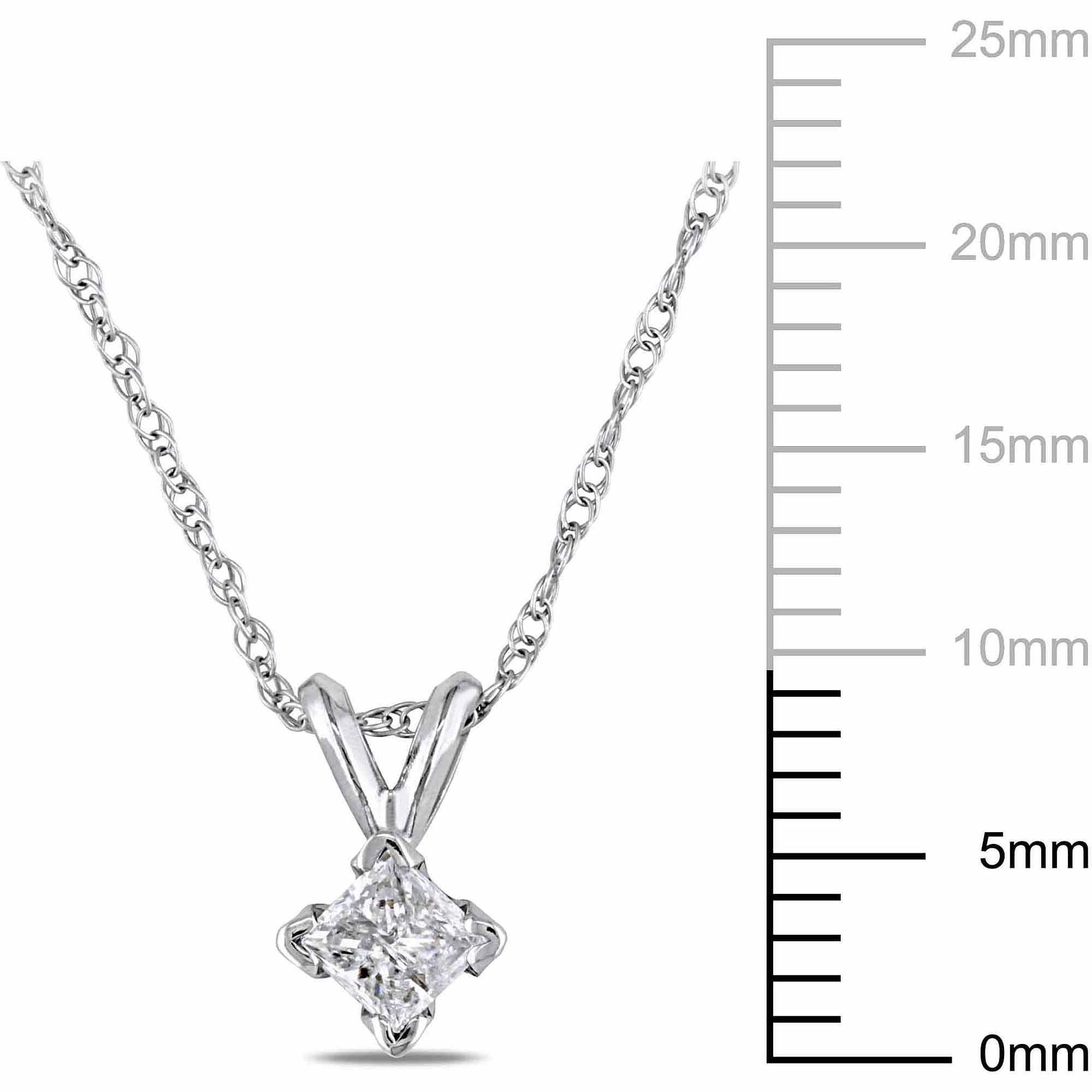 Miabella 1/4 Carat T.W. Princess-Cut Diamond 14kt White Gold Solitaire Pendant, 17