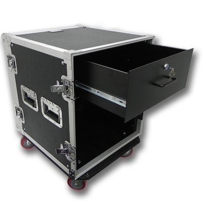 Seismic Audio 12 SPACE RACK CASE WITH 4U LOCKING DRAWER Amp Effect Mixer PA/DJ PRO CASTERS - SAR12rd4u