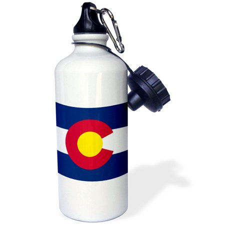- 3dRose Flag of Colorado - US American state - United States of America USA - blue white red C yellow - CO, Sports Water Bottle, 21oz
