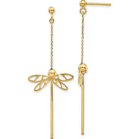 Leslie's 14K Polished Dragonfly Post Dangle Earrings - image 3 de 3