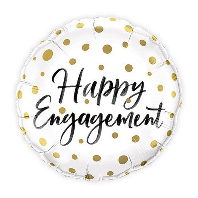 Weddingstar 4837-55 Mylar Foil Helium Wedding Balloon - Gold Polka Dot Engagement
