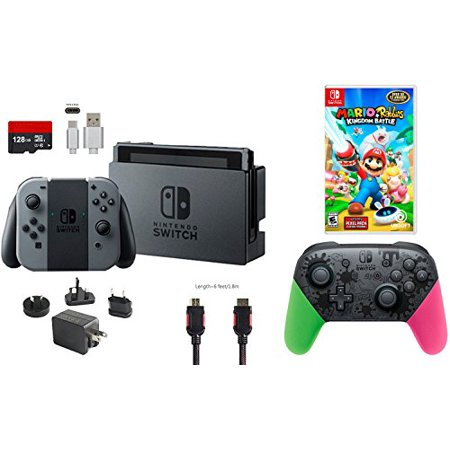 Nintendo Switch Bundle  7 Items   32Gb Console Gray Joy Con  Nintendo Switch Pro Controller Splatoon 2 Edition  Game Disc Mario   Rabbids Kingdom Battle  128Gb Micro Sd Card  Type C Cable