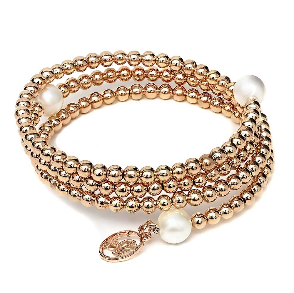 3mm Wrap Around Cream Simulated Pearl Bracelet with Rose Gold Plated Beads