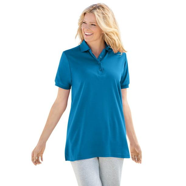 Woman Within Women's Plus Size Elbow-Sleeve Polo Shirt Polo Shirt