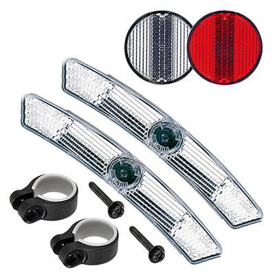 Cateye Reflector Set 4-Way Ft-Wht/Hb Rr-Red/Sp Spoke-Wht