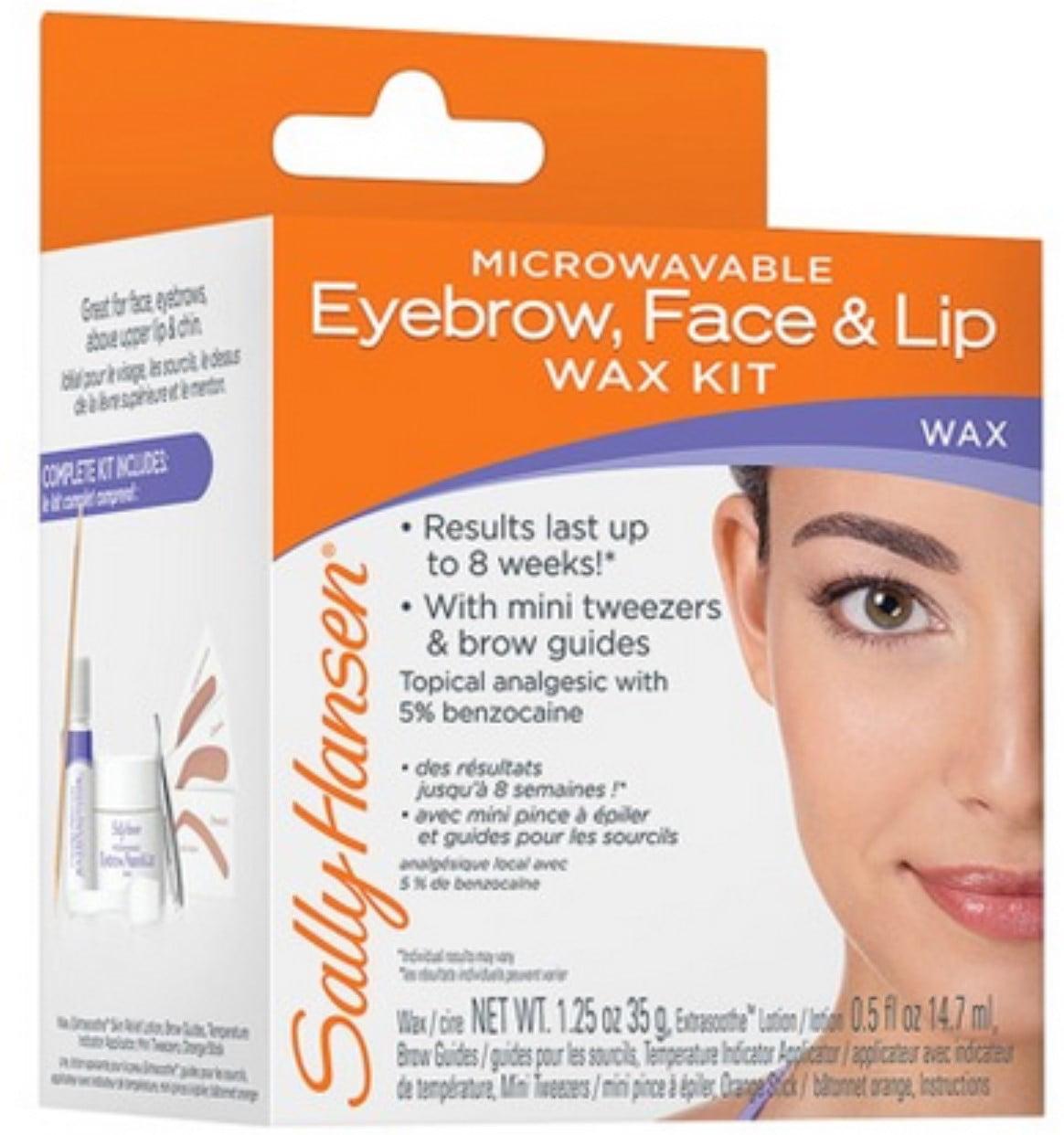 Sally Hansen Microwaveable Eyebrow Face Lip Wax Kit Pack Of 2