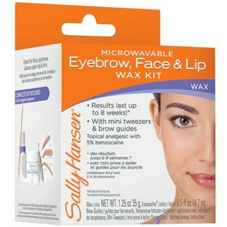 Sally Hansen Microwaveable Eyebrow, Face & Lip Wax Kit (Pack of 2) - Honey Microwaveable Wax