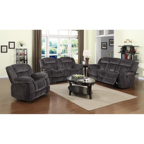 Sunset Trading Madison 3 Piece Reclining Living Room Set - Charcoal Blue / Gray