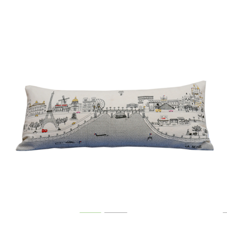 Beyond Cushions Paris France Daytime Skyline Queen Size Embroidered Pillow - Paris Stuff
