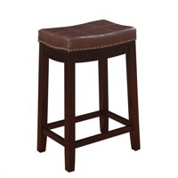 """Riverbay Furniture 26"""" Patches Counter Stool in Dark Brown"""