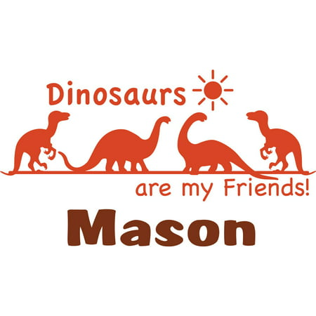 Personalized Name Vinyl Decal Sticker Custom Initial Wall Art Personalization Decor Boys Dinosaurs Animal Design Children Bedroom 10 Inches X 20 Inches for $<!---->