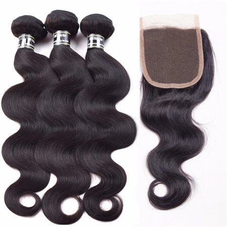 Beroyal Indian Virgin Hair Body Wave Bundles with Closure Free Part Human Hair Weave, 16