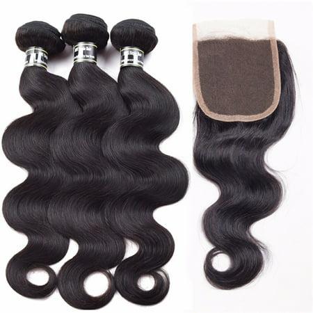 Beroyal Indian Virgin Hair Body Wave Bundles with Closure Free Part Human Hair Weave, 16