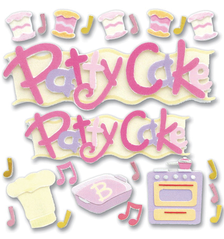 Jolees Boutique Dimensional Stickers-Patty Cake Word