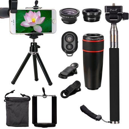 All in 1 Universal Phone Camera Lens Top Spring Travel Outdoor Kit for iPhone XS Max/XS/XR/X, 8 Plus/8, 7 Plus/7, for Samsung Galaxy Note 8 S10/S9/S8/S8 Plus, for HUAWEI (Samsung Galaxy Note 4 Camera Lens)