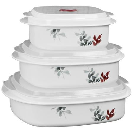 Corelle Coordinates 6 Piece Microwave Safe Cookware Storage Set Kyoto Leaves