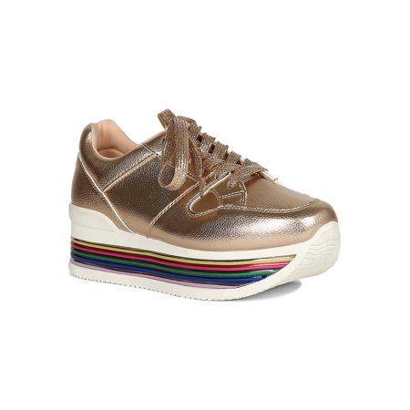 Women Rainbow Metallic Platform Lace Up Sneakers - Rainbow Dash Shoes