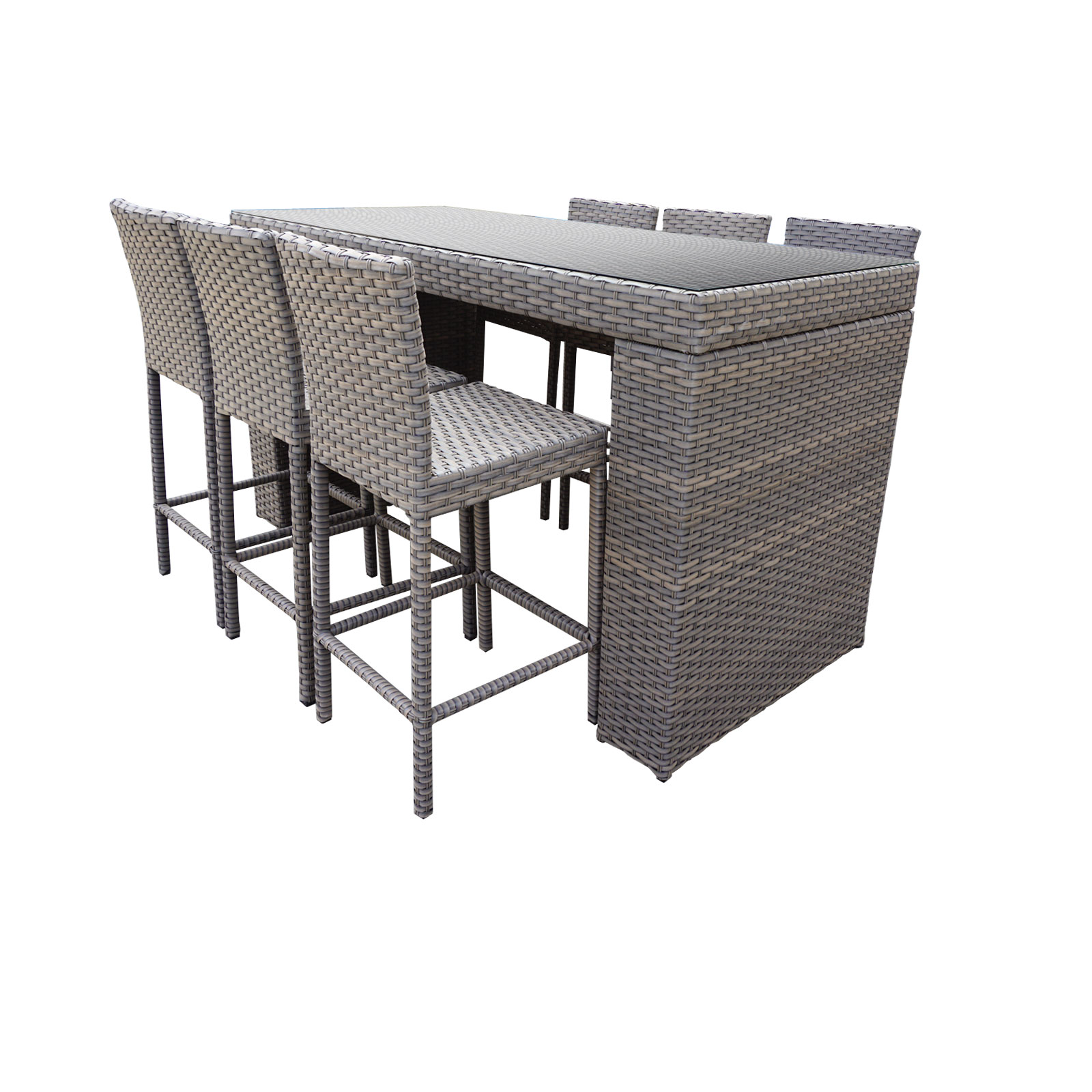 Pub Table Set With Bar Stools 7 Piece Outdoor Wicker Patio Furniture by TK Classics