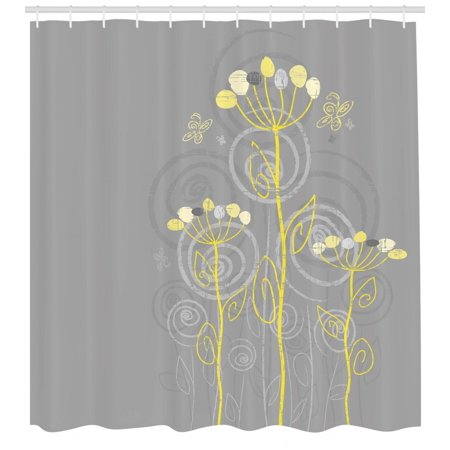 Grey and Yellow Shower Curtain, Under the Sea Inspired Flowers Abstract Swirls Backdrop, Fabric Bathroom Set with Hooks, Charcoal Grey and Pale Yellow, by Ambesonne (Gray Yellow Shower Curtain)