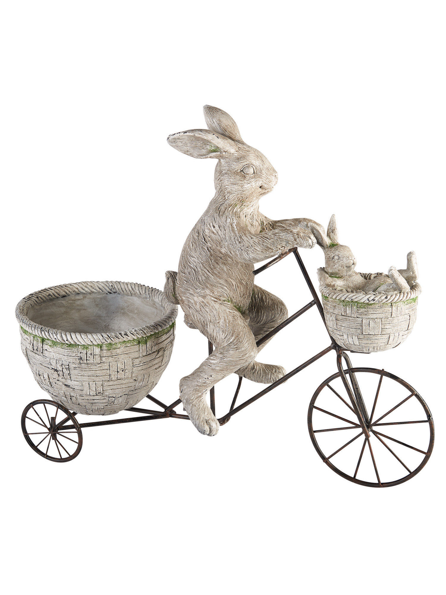 Cycling Rabbits Garden Sculpture   Parent Child Bunnies On A Bicycle Yard  Decor
