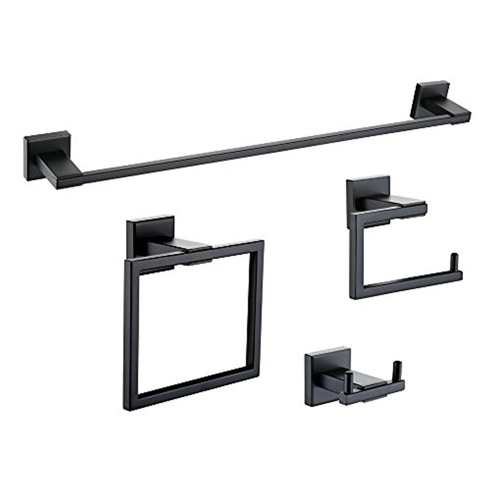 KES 4-Piece Bathroom Accessory Set Towel Bar Toilet Paper Holder Towel Ring and Robe Hook Matt Black Wall Mount SUS 304... by LIVEDITOR LIGHTING