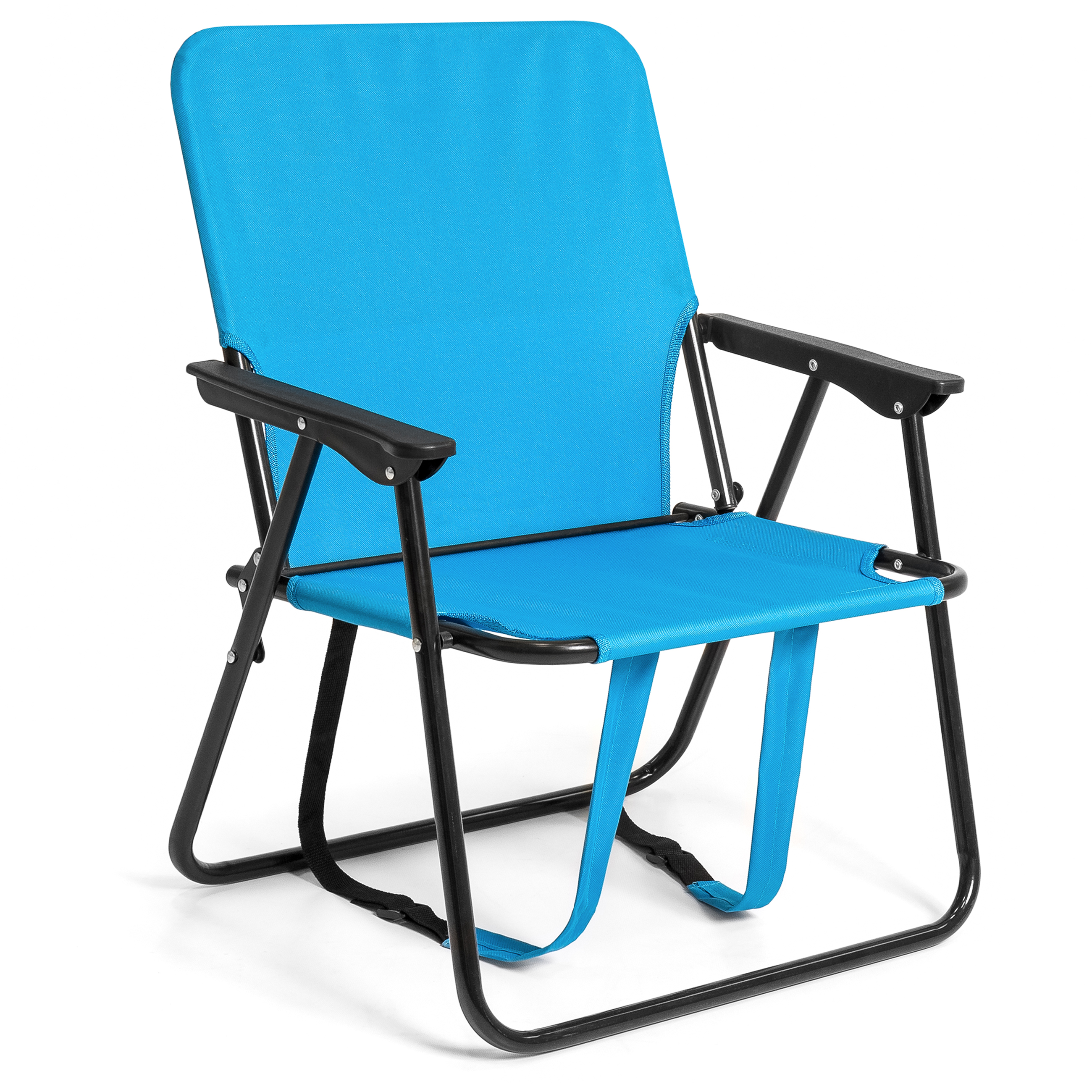 Best Choice Products 12in Height Seat Backpack Folding Chair Outdoor Beach Camping - Blue