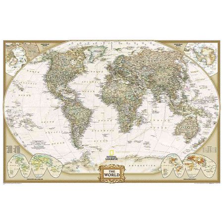 World Executive Poster Size Map  Wall Maps World