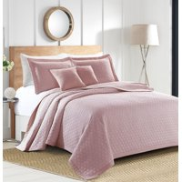 Sherry Kline Rombo Embroidered 3-piece Queen Pink Cotton Quilt Set