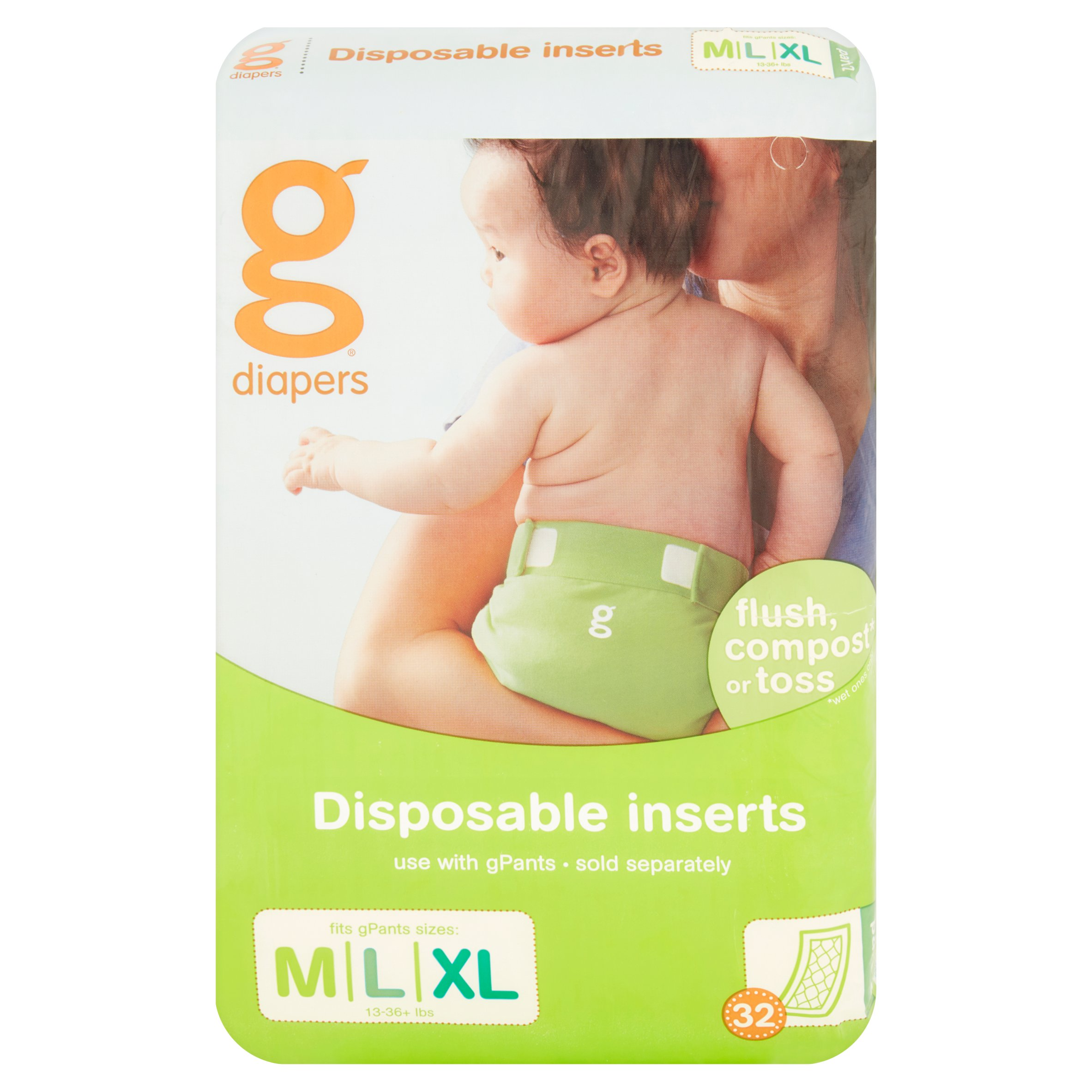 gDiapers Disposable Inserts 13-36+ lbs, 32 count