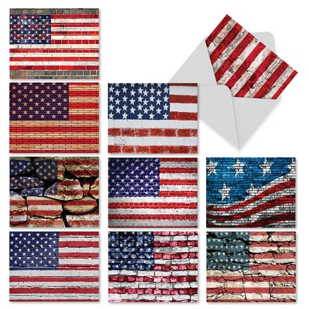 M2013 FLAG DAY: 10 Assorted Blank Note Cards with Envelopes, The Best Card Company