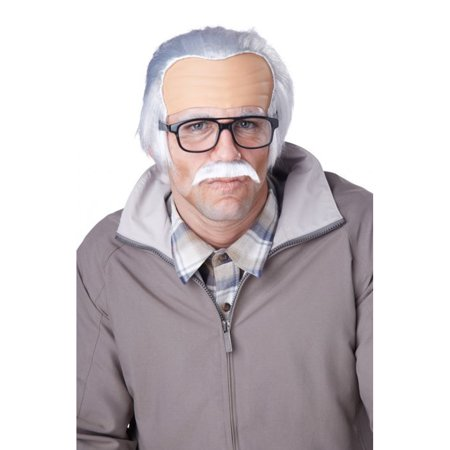 Rude Grandpa Wig And Mustache Bad Johnny Knoxville Jackass Movie Bald Old - Men Wigs