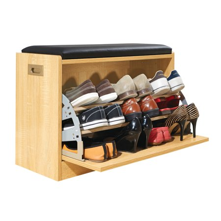 Wooden Shoe Cabinet Storage Bench w/ Seat Cushion - Holds up to 12 Pairs, Natural ()