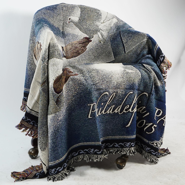 "Pope and Dove Philadelphia 2015 Religious Tapestry Throw Blanket 50"" x 60"" - image 1 of 2"