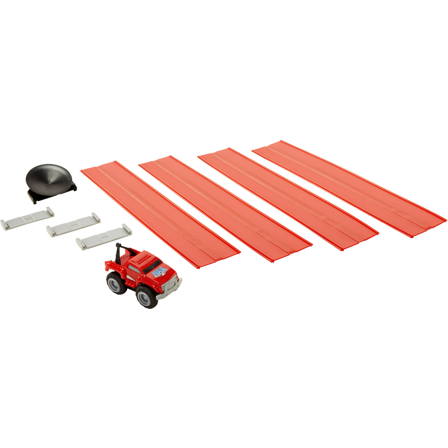 Max Tow Mini Haulers Tow and Track Packs, Red Tow Truck with Track Pieces