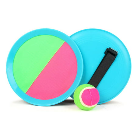 Self-Stick Disc Paddles and Toss Ball Sport Game Paddle Tennis Toy Ball Toss and Catch Sports Ball Equally Suitable Game for Kids & Adults, Outdoor or Indoor (Blue) - Outdoor Ball Games