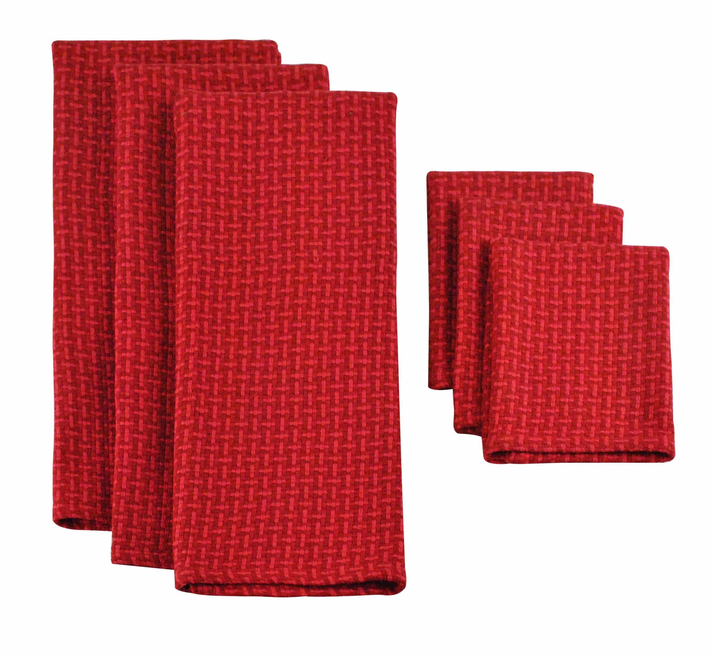 Design Imports Heavyweight Dishtowel and Dishcloth Set (3 Pieces), Currant