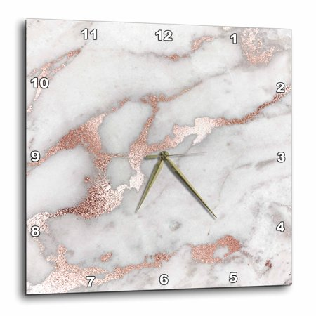 3dRose Image of Chic Gray Trendy Copper Rose gold Marble Agate Gemstone Rock Quartz - Wall Clock, 10 by 10-inch