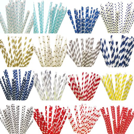 Sets of 100 Paper Straws Great for Birthday Wedding Baby Shower Party etc. - Party Straws