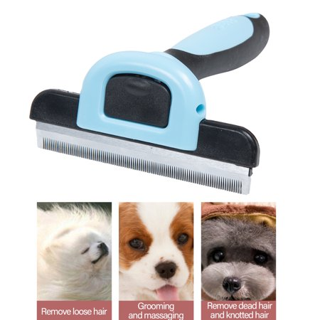 Pet Grooming Brush Comb Pet Hair Remover Cat Hair Shedding Tool with Stainless Steel Trimming Blade
