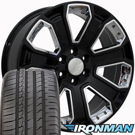 22x9 Wheels & Tires Fit GM Trucks - Chevy Silverado Style Black with Chrome Insert Rims with Ironman Tires, Hollander 5661 -