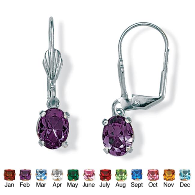 PalmBeach Jewelry 4785102 Oval-Cut Simulated Birthstone Silvertone Metal Drop Earrings February - Simulated Amethyst