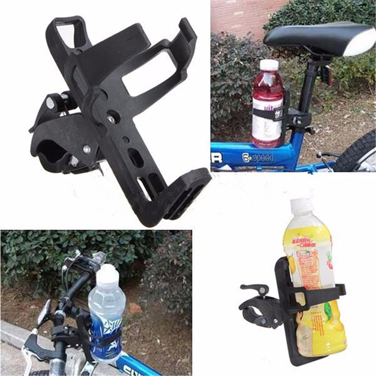 Handlebar Water Bottle Holder Motorcycle Bicycle Bike Cycling Milk Drink Cup Adaptor Fits 7 8 1