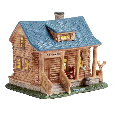 Nantucket Home Ceramic Log Cabin Miniature Lighted Home Log Cabin Decor