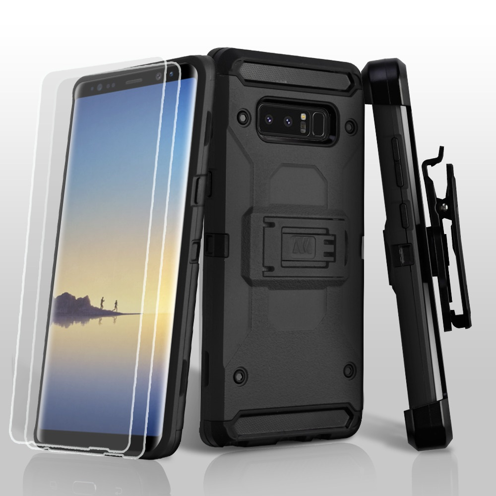 Kaleidio Case For Samsung Galaxy Note 8 [Kinetic Armor] Rugged Holster [Belt Clip] Heavy Duty Shockproof Hybrid [Kickstand] Cover w/ Overbrawn Prying Tool [Black/Black]