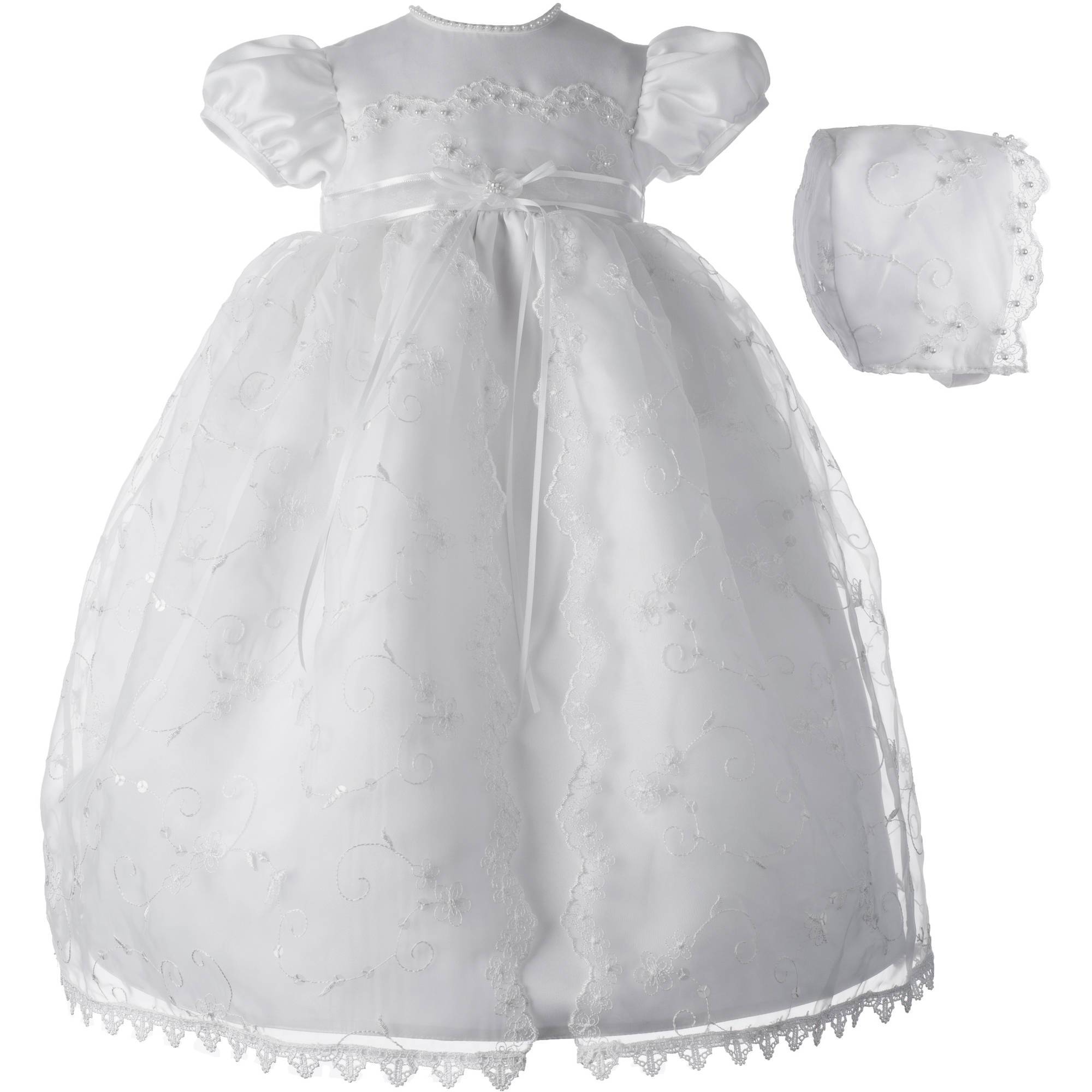 Christening Baptism Newborn Baby Girl Special Occasion Girls Long Embroidered Organza Split Front Skirt Over Bridal Satin Dress w/ Sequin Accents