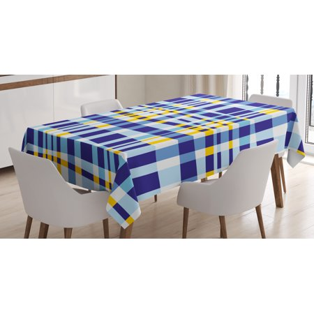 Yellow and Blue Tablecloth, Retro Scottish Checkered Tartan with Color Stripes Lines Pattern, Rectangular Table Cover for Dining Room Kitchen, 52 X 70 Inches, Light and Violet Blue, by - Checkered Table Covers