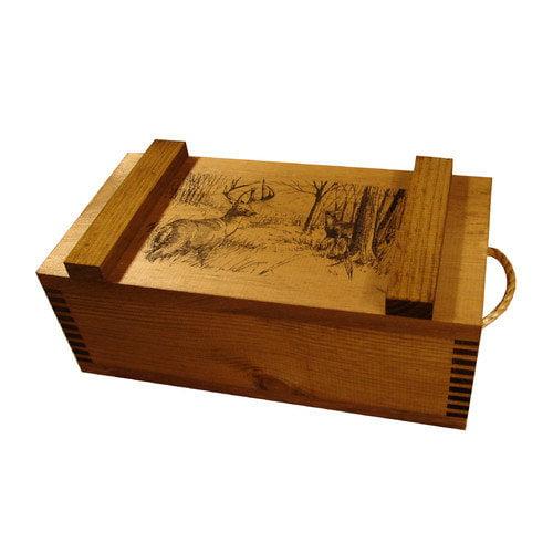 Evans Sports Wooden Crate With Rope Handles-Deer Print