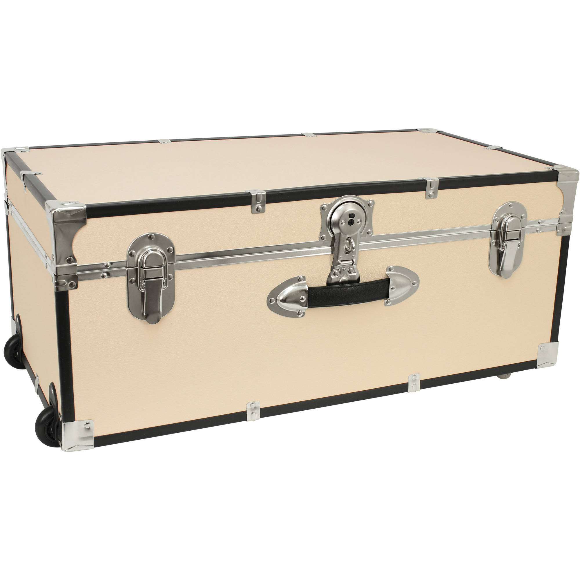 Seward Trunk Collegiate Collection Footlocker Trunk 25 Gal. Wood Storage Box with Handles, Beige